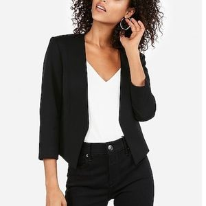 Express Cut Away Buttonless Black Blazer
